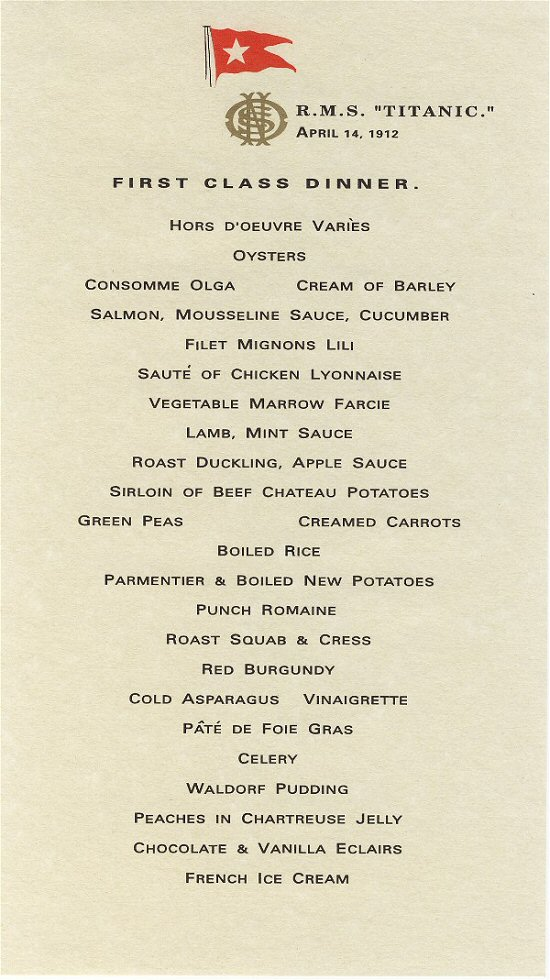 r m s titanic menus book of days tales
